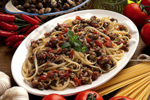 Caracoles con espaguetis